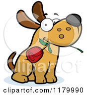 Cartoon Of A Sweet Dog Sitting With A Rose In His Mouth Royalty Free Vector Clipart