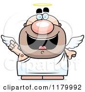 Cartoon Of A Smart Chubby Male Angel With An Idea Royalty Free Vector Clipart