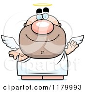 Cartoon Of A Waving Chubby Male Angel Royalty Free Vector Clipart