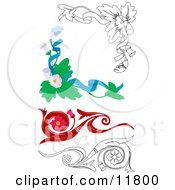 Floral Design Elements Clipart Illustration