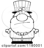 Cartoon Of A Black And White Worried Chubby Uncle Sam Royalty Free Vector Clipart