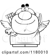 Cartoon Of A Black And White Waving Chubby Cupid Royalty Free Vector Clipart