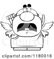 Cartoon Of A Black And White Scared Chubby Cupid Royalty Free Vector Clipart