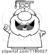 Cartoon Of A Black And White Smart Chubby Professor In A Graduation Gown With An Idea Royalty Free Vector Clipart