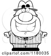 Cartoon Of A Black And White Grinning Chubby Mobster Royalty Free Vector Clipart by Cory Thoman