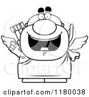 Cartoon Of A Black And White Smart Chubby Cupid With An Idea Royalty Free Vector Clipart