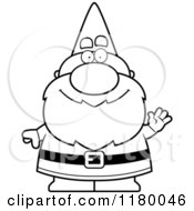 Cartoon Of A Black And White Waving Chubby Male Gnome Royalty Free Vector Clipart by Cory Thoman