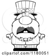 Cartoon Of A Black And White Screaming Chubby Uncle Sam Royalty Free Vector Clipart