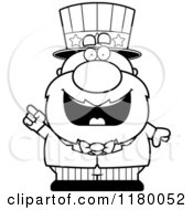 Cartoon Of A Black And White Smart Chubby Uncle Sam With An Idea Royalty Free Vector Clipart