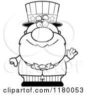 Cartoon Of A Black And White Waving Chubby Uncle Sam Royalty Free Vector Clipart