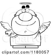 Cartoon Of A Black And White Waving Chubby Male Angel Royalty Free Vector Clipart