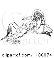 Clipart Of A Retro Vintage Black And White Couple Relaxing Royalty Free Vector Illustration