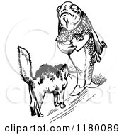 Clipart Of A Black And White Scared Cat And Fish Royalty Free Vector Illustration