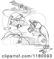 Clipart Of A Black And White Fish Couple Royalty Free Vector Illustration