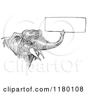 Clipart Of A Retro Vintage Black And White Elephant Holding A Sign With Its Trunk 2 Royalty Free Vector Illustration by Prawny Vintage