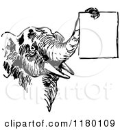 Clipart Of A Retro Vintage Black And White Elephant Holding A Sign With Its Trunk Royalty Free Vector Illustration by Prawny Vintage
