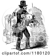 Clipart Of A Retro Vintage Black And White Man Carrying A Cat Royalty Free Vector Illustration