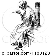 Clipart Of A Retro Vintage Black And White Old Man Smoking A Pipe Royalty Free Vector Illustration