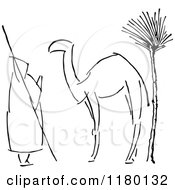 Clipart Of A Black And White Sketched Man And Camel Royalty Free Vector Illustration by Prawny Vintage