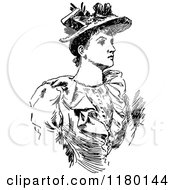 Clipart Of A Retro Vintage Black And White Woman Wearing A Hat Royalty Free Vector Illustration by Prawny Vintage