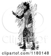 Clipart Of A Retro Vintage Black And White Woman In The Rain Royalty Free Vector Illustration by Prawny Vintage