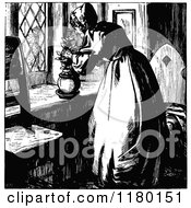 Clipart Of A Retro Vintage Black And White Elderly Lady Putting Flowers In A Pot Royalty Free Vector Illustration by Prawny Vintage