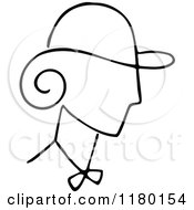 Clipart Of A Black And White Sketched Lady Wearing A Hat Royalty Free Vector Illustration by Prawny Vintage