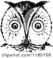 Clipart Of A Retro Vintage Black And White Owl Face Royalty Free Vector Illustration