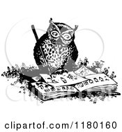 Clipart Of A Retro Vintage Black And White Owl Drawing Royalty Free Vector Illustration by Prawny Vintage