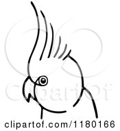 Clipart Of A Black And White Parrot Royalty Free Vector Illustration by Prawny Vintage