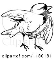 Clipart Of A Black And White Chick Royalty Free Vector Illustration by Prawny Vintage