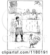 Clipart Of A Retro Vintage Black And White Boy In A Yard With A Chicken Royalty Free Vector Illustration