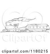 Clipart Of A Black And White Sketched Train Royalty Free Vector Illustration by Prawny Vintage