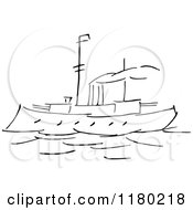 Clipart Of A Black And White Sketched Steam Boat Royalty Free Vector Illustration