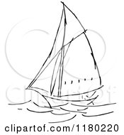 Clipart Of A Black And White Sketched Sailboat Royalty Free Vector Illustration by Prawny Vintage