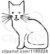 Clipart Of A Black And White Sitting Cat Royalty Free Vector Illustration