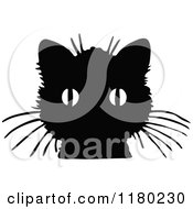 Clipart Of A Retro Vintage Black And White Cat Face Royalty Free Vector Illustration