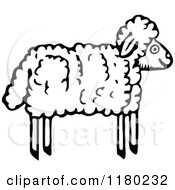 Clipart Of A Black And White Wooly Lamb Royalty Free Vector Illustration by Prawny Vintage