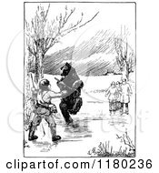 Clipart Of A Retro Vintage Black And White Bear And Hunter By People Royalty Free Vector Illustration by Prawny Vintage