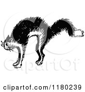 Clipart Of A Retro Vintage Black And White Scared Cat 2 Royalty Free Vector Illustration