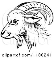 Clipart Of A Black And White Goat Head In Profile Royalty Free Vector Illustration by Prawny Vintage