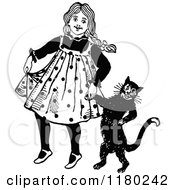 Clipart Of A Retro Vintage Black And White Girl Walking With Her Cat Royalty Free Vector Illustration