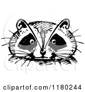 Clipart Of A Retro Vintage Black And White Raccoon Face Royalty Free Vector Illustration