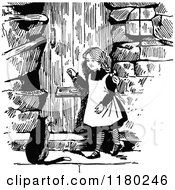 Clipart Of A Retro Vintage Black And White Girl And Cat At A Door Royalty Free Vector Illustration