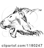 Clipart Of A Black And White Roaring Lion Royalty Free Vector Illustration by Prawny Vintage