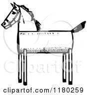 Clipart Of A Retro Vintage Black And White Wooden Horse Royalty Free Vector Illustration by Prawny Vintage