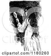 Clipart Of A Retro Vintage Black And White Girl Holding A Candle And Mirror Royalty Free Vector Illustration