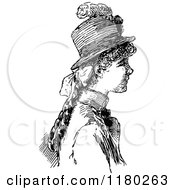 Clipart Of A Retro Vintage Black And White Girl In Profile Royalty Free Vector Illustration by Prawny Vintage