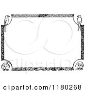 Clipart Of A Retro Vintage Black And White Border Of Children And Birds Royalty Free Vector Illustration