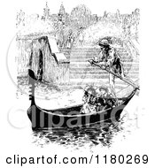 Clipart Of Retro Vintage Black And White Children Enjoying A Gondola Ride Royalty Free Vector Illustration by Prawny Vintage